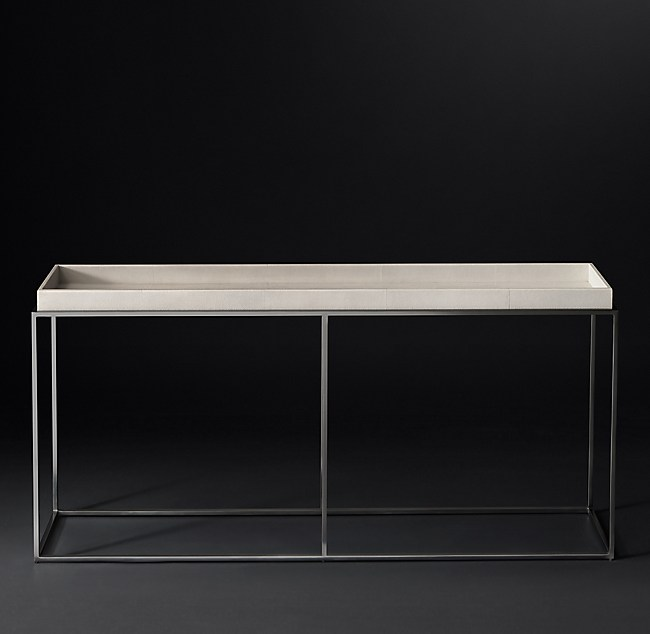 "hudson shagreen tray 72"" console table"