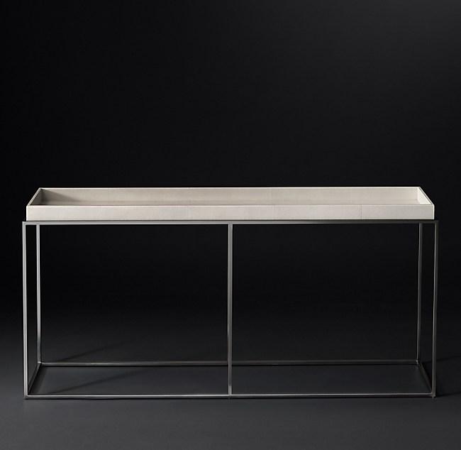 Shagreen Coffee Table Tray: Hudson Shagreen Tray Console Table