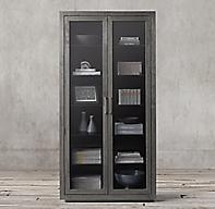 La Salle Metal Wrapped Glass Double Door Cabinet