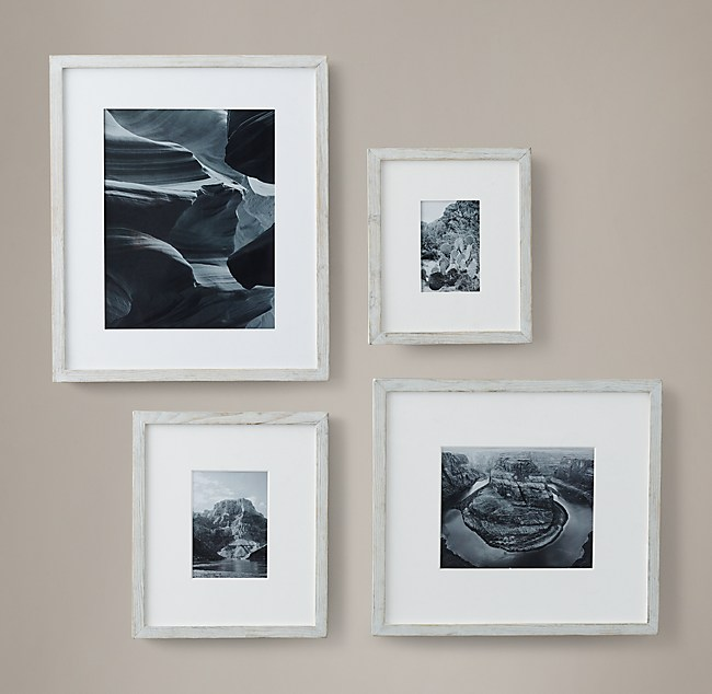 Weathered Oak Narrow Gallery Frames - White