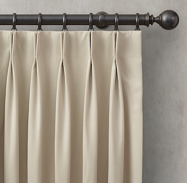 Custom Sunbrella Canvas 2 Fold French Pleat Drapery