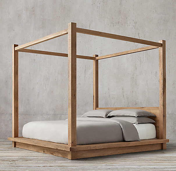 Reclaimed russian oak four poster bed for Four poster wooden beds