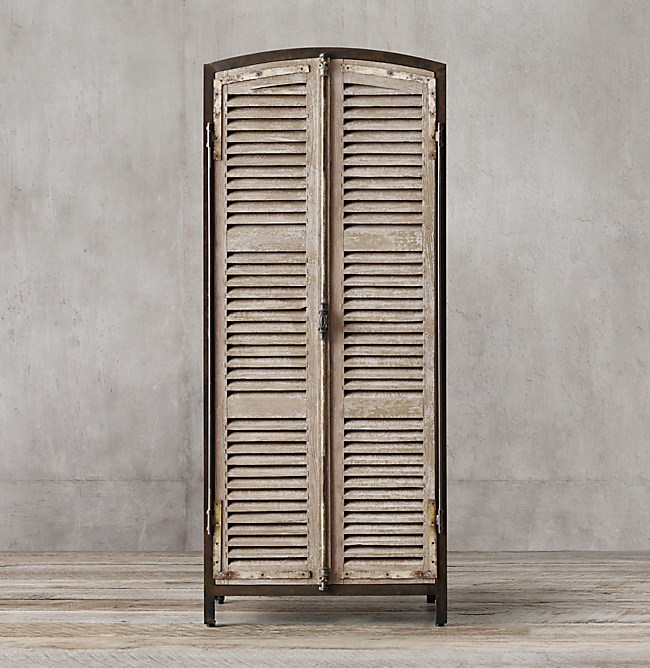 French Shutter Panel Double Door Cabinet