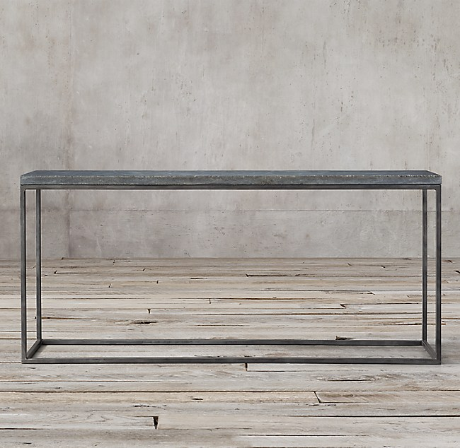 delphine bluestone & metal console table