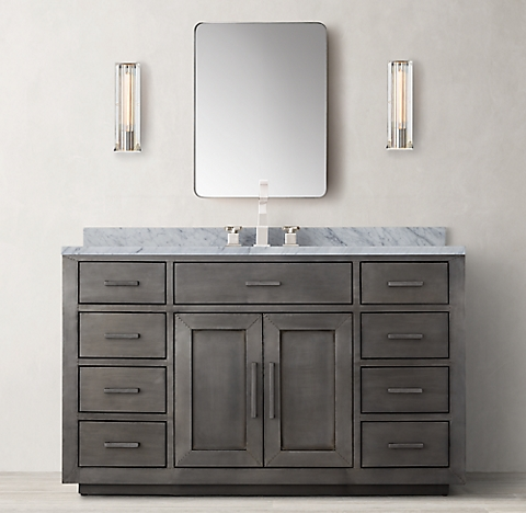 Zinc Bathroom Vanity la salle metal-wrapped vanity bath collection - zinc | rh
