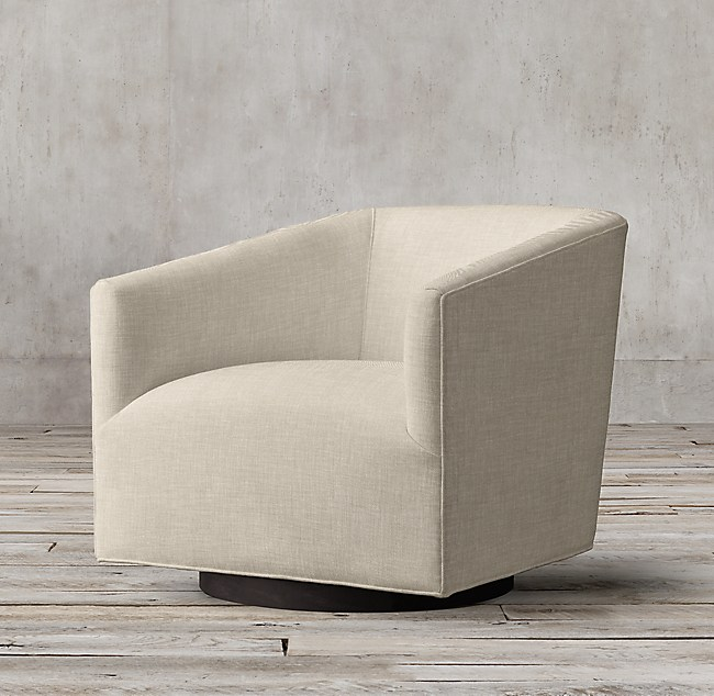 1950s Italian Shelter Arm Upholstered Swivel Chair