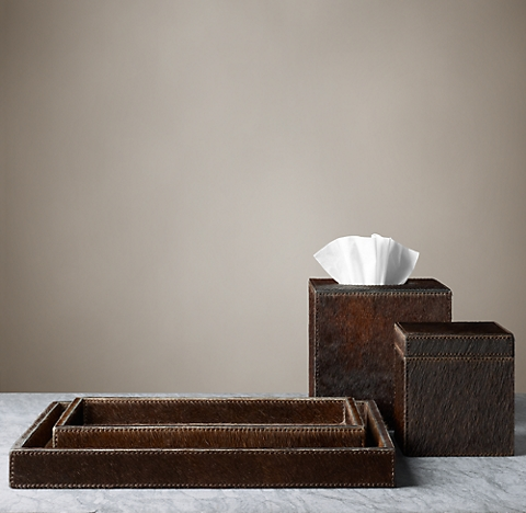 brazilian hide bath accessories brown