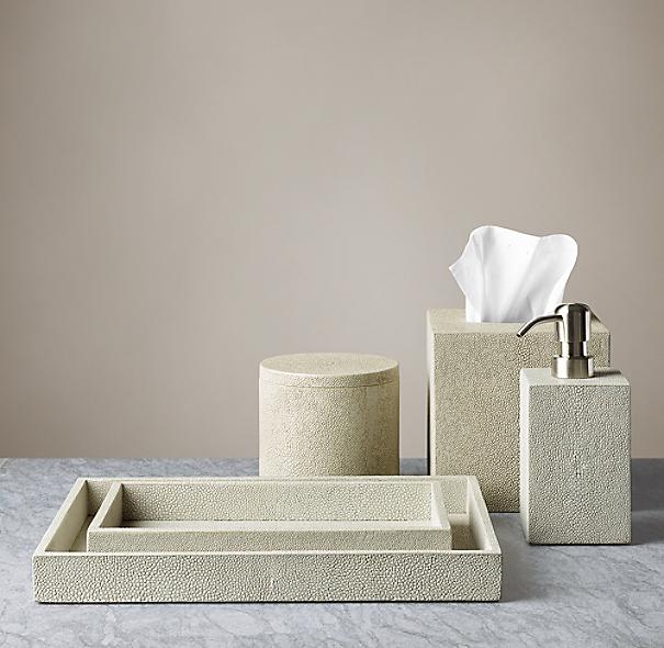 Shagreen bath accessories dove for Restoration hardware bathroom accessories