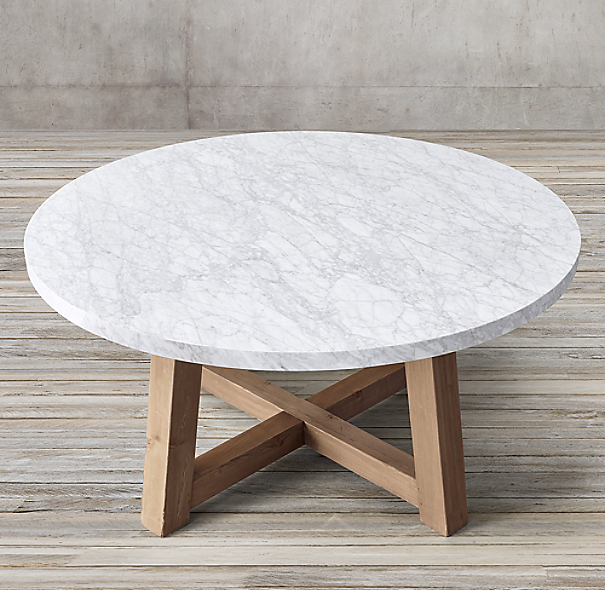 Salvaged Wood Amp Marble Beam Round Dining Table