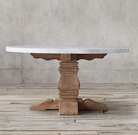 Salvaged Wood Marble Trestle Dining Table Collection Rh