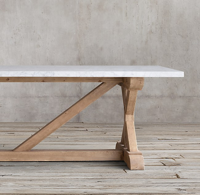 Salvaged Wood Marble X Base Rectangular Dining Table