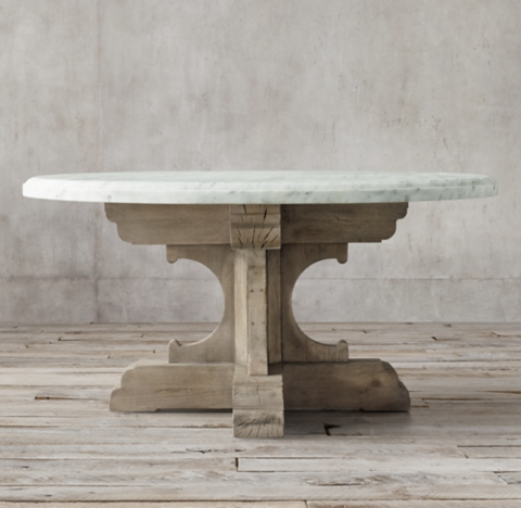 C French Bastide Oak Marble Round Dining Table