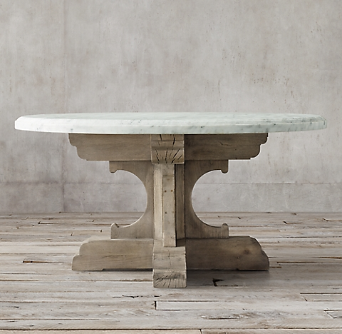 Th C French Bastide Oak Marble Round Dining Table - Restoration hardware dining table and chairs