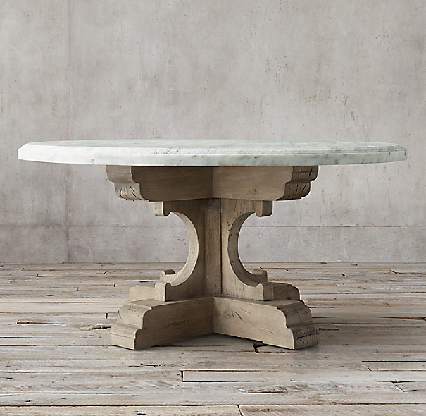 17th C French Bastide Oak Amp Marble Round Dining Table