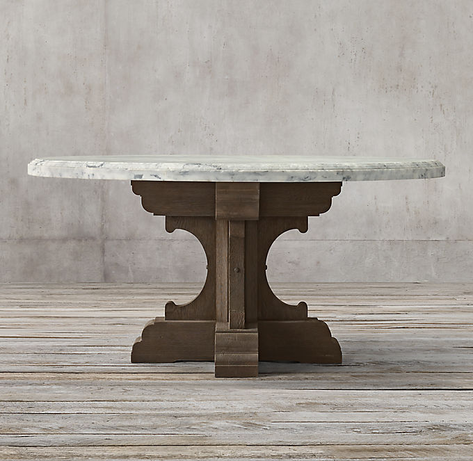 17th C French Bastide Oak Marble Dining Table Collection Rh