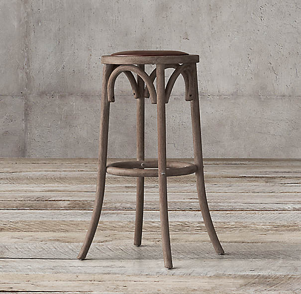 Madeleine backless leather stool - Madeleine bar stool ...