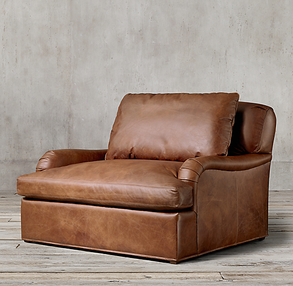 Belgian Classic Roll Arm Leather Chair And A Half