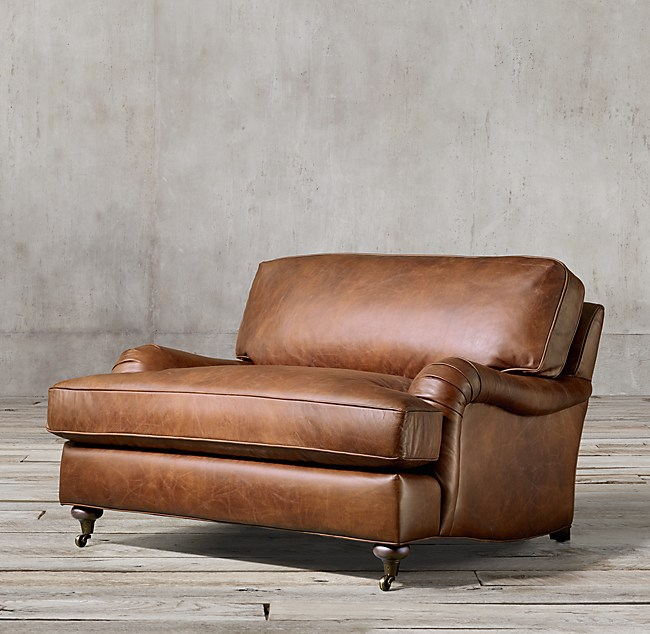 Stupendous English Roll Arm Leather Chair And A Half Home Interior And Landscaping Ologienasavecom