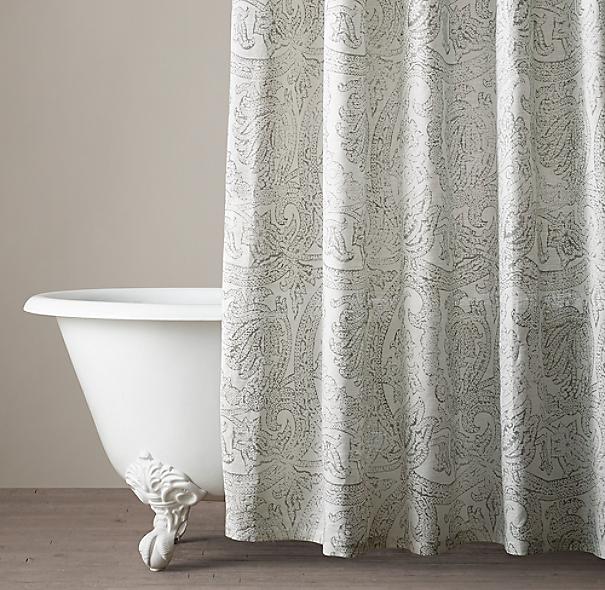 Italian Distressed Scroll Linen Shower Curtain