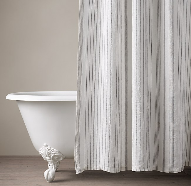 Italian Stripe Jacquard Linen Shower Curtain