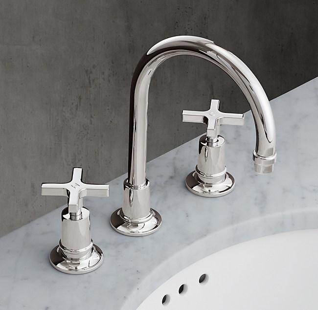 Cross Handle 8 Widespread Gooseneck Faucet
