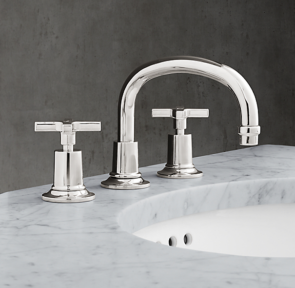 1940 fleetwood cross handle 8 widespread low profile faucet for Restoration hardware bathroom faucets
