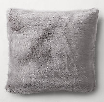 Ultra Faux Fur Square Pillow Cover - Fog