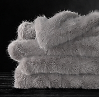 Ultra Faux Fur Throw - Fog