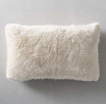 Ultra Faux Fur Lumbar Pillow Cover - Cream