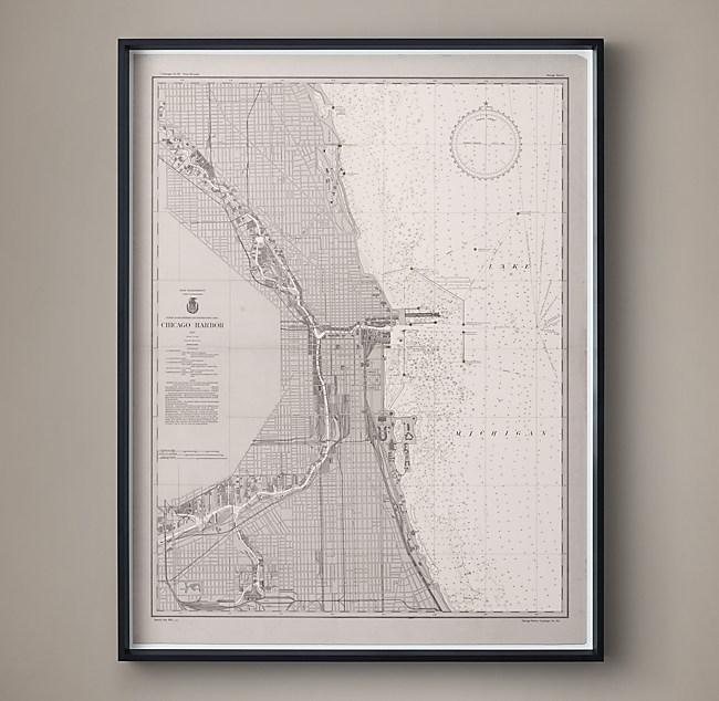 20th C Nautical Survey Map Chicago Harbor - Us-coast-and-geodetic-survey-maps