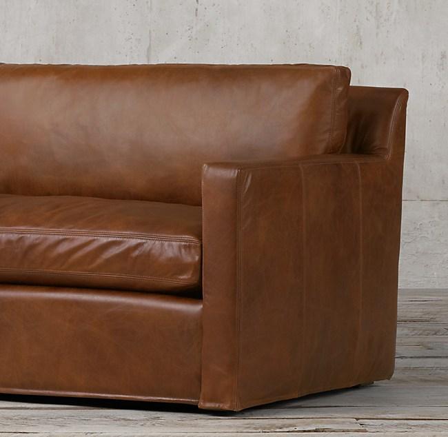 6' Petite Belgian Track Arm Leather Sofa