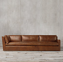 Belgian Track Arm Leather Right-Arm Return Sofa