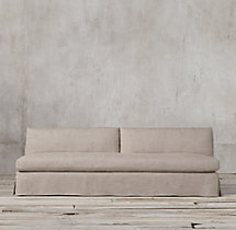 Belgian Track Arm Slipcovered Armless Sofa