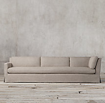 Belgian Track Arm Slipcovered Left-Arm Return Sofa