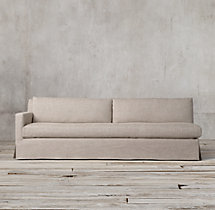 Belgian Track Arm Slipcovered Left-Arm Sofa