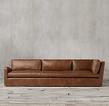 Belgian Slope Arm Leather Left-Arm Return Sofa