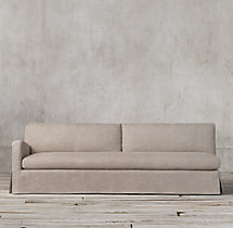 Belgian Slope Arm Slipcovered Left-Arm Sofa