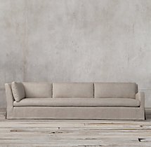Belgian Slope Arm Slipcovered Right-Arm Return Sofa