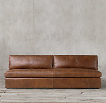 Belgian Classic Slope Arm Leather Armless Sofa