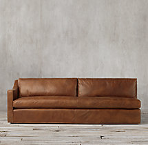 Belgian Classic Slope Arm Leather Left-Arm Sofa
