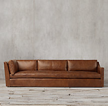 Belgian Classic Slope Arm Leather Right-Arm Return Sofa