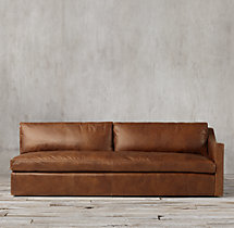 Belgian Classic Slope Arm Leather Right-Arm Sofa