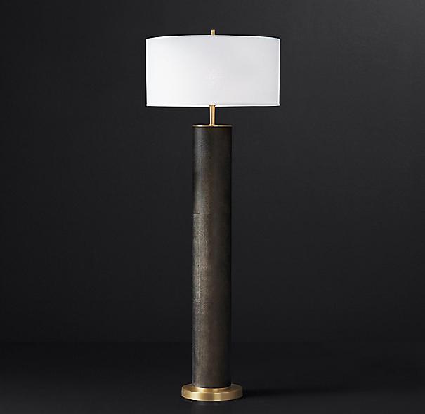 Delano shagreen cylinder floor lamp for Paper cylinder floor lamp