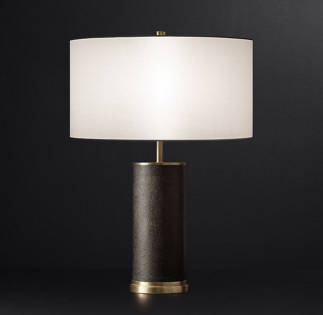 Santiago Modern Burnished Brass Drum Coffee Table: Delano Shagreen Cylinder Table Lamp