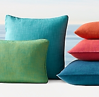 Rh Modern Pillows : Custom Perennials Variegated Textured Linen Brights Pillow Cover