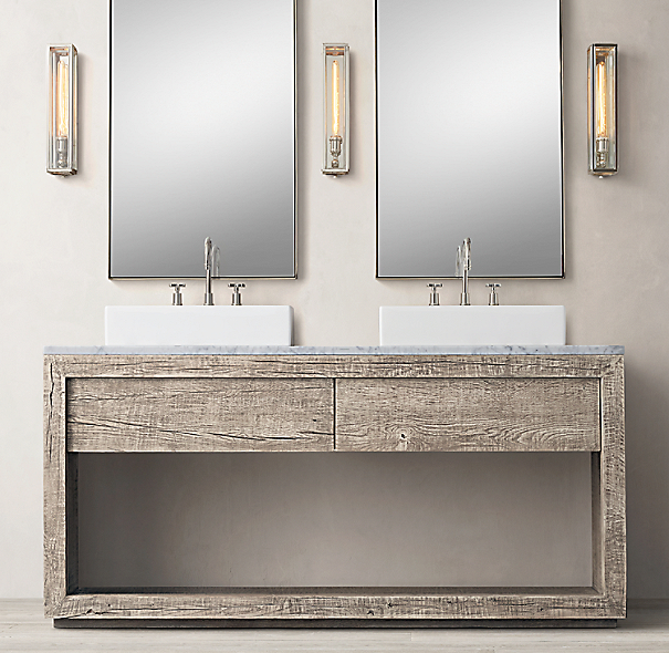 Restoration Hardware Bathroom Vanity Knockoff: Reclaimed Russian Oak Double Washstand
