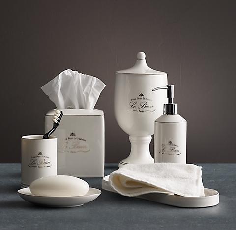 Le Bain French Porcelain Bath Accessories White