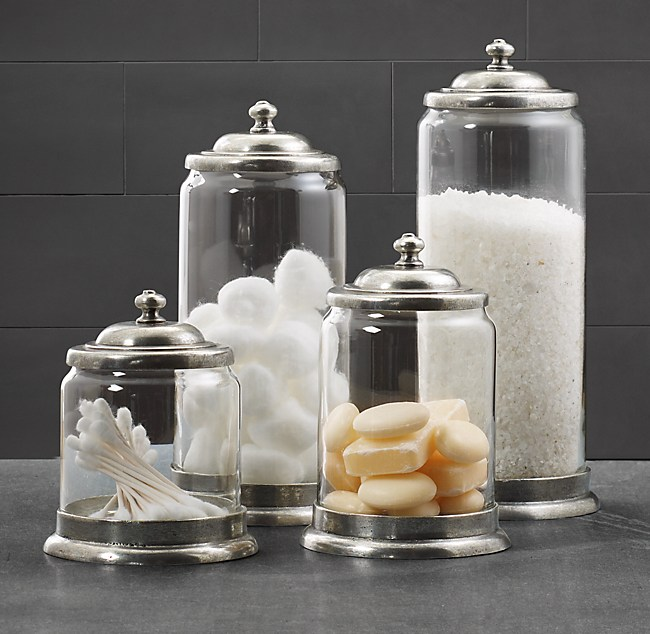 Apothecary Pewter Amp Glass Bath Jars
