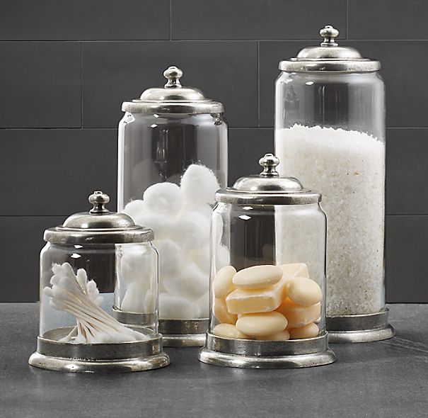 Apothecary pewter glass bath jars for Bathroom containers with lids