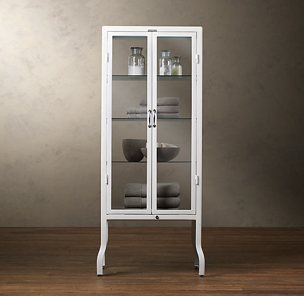 Pharmacy large bath cabinet white for Restoration hardware bathroom cabinets